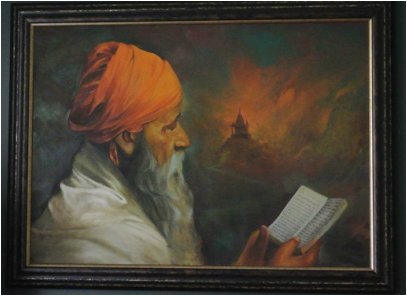 Museum of Spirituality Art  HOLY MAN READING A BOOK Artist – Raghu Vyas 					        Oil on Canvas