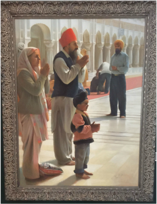 Museum of Spirituality Art  FAMILY PRAYING AT THE GOLDEN TEMPLE Artist – Chuck Marshall                                         Oil on Canvas