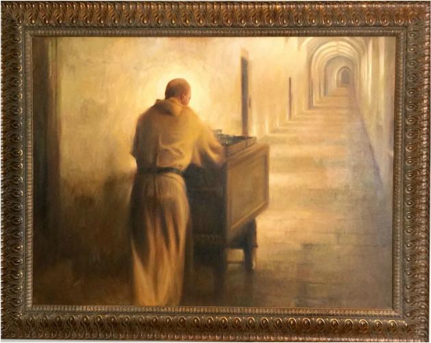 Spiritual Art Gallery Exhibit (E7) MONK WITH A CART - The